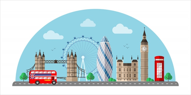 Flache farbillustration des londoner stadtbildes
