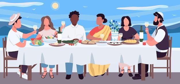 Flache farbillustration des multikulturellen abendessens