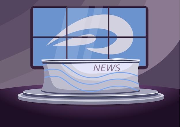 Flache farbillustration des nachrichtenstudios. leere nachrichtensendung bühne 2d cartoon interieur mit bildschirmen auf hintergrund. professioneller nachrichtensprecher, newsreader-arbeitsplatz. fernsehsender