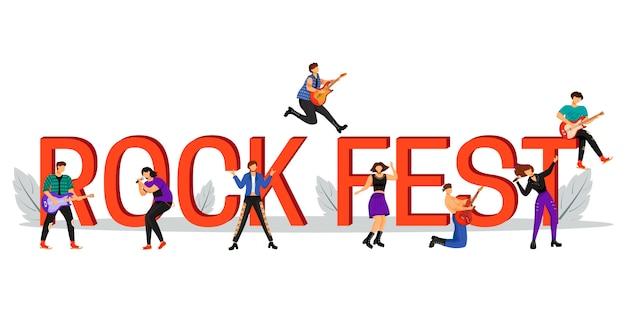 Flache farbillustration des rockfestes. musikalische performance. zeichentrickfiguren auf weißem hintergrund. musikfestival-wortkonzept-banner. isolierte typografie. illustration