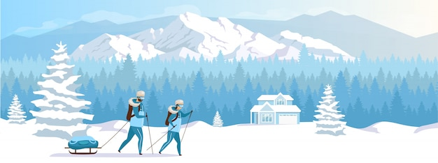 Flache farbillustration des skigebietsurlaubs