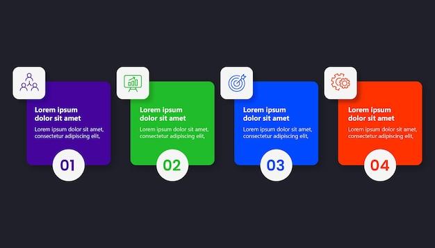 Flache farbinfografik mit 4 optionen