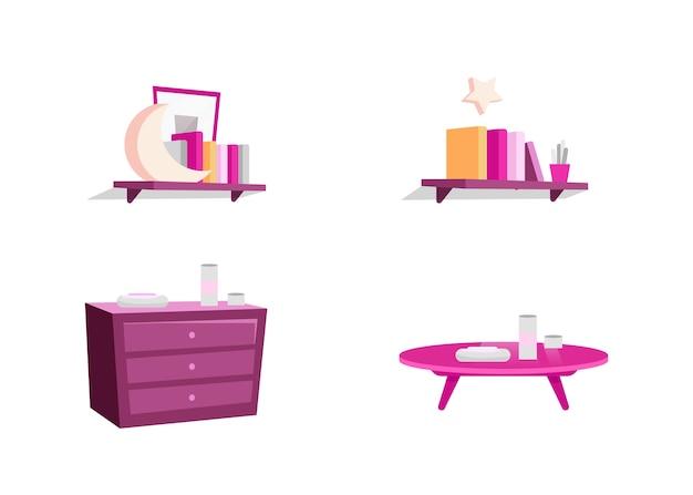 Flache farbobjekte der weiblichen raummöbel eingestellt. rosa kommode. bücherregal und zubehör. isolierte karikaturillustration der schlafzimmerausstattung für webgrafikdesign und animationssammlung