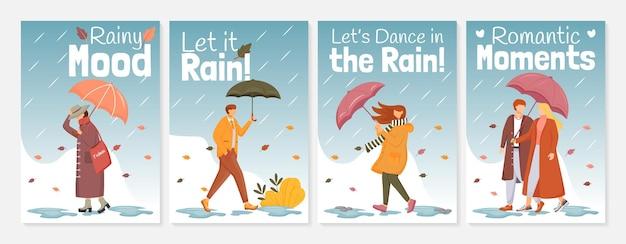 Flache farbschablonen des regnerischen stimmungsplakats stellen illustration ein