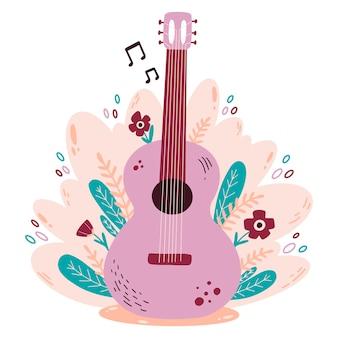 Flache farbvektorillustration der gekritzelart der gitarre mit blumen.