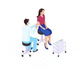 Flache farbvektorillustration der impfung.