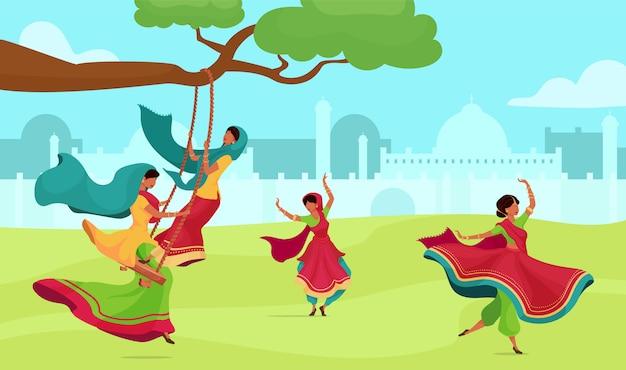 Flache farbvektorillustration der teej-feier. traditionelle religiöse zeremonie. frau im sari auf schaukel. hindu-ritual. 2d-karikaturfiguren der indischen frau mit stadtbild auf hintergrund