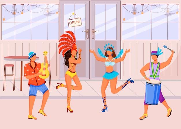 Flache farbvektorillustration des brasilianischen karnevals. tanzende frauen in festlicher kleidung. ethnischer feiertag. stehende männer, die ukulele und conga 2d-zeichentrickfiguren mit café spielen