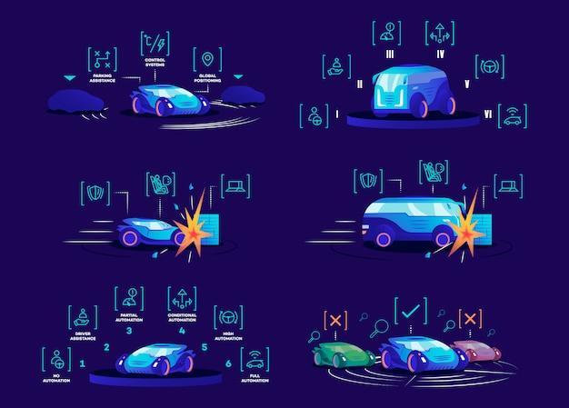 Flache farbvektorillustrationen der fahrerlosen autos eingestellt. selbstfahrende fahrzeuge auf blauem hintergrund. autonome automobilvorteile, intelligente steuerungssysteme, verschiedene automatisierungsmodi und schadensschutz