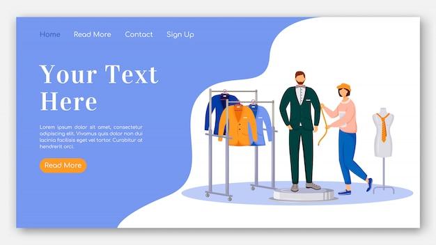 Flache farbvektorschablone der modedesigner-landingpage. messungen des homepage-layouts des mannmodells. design kleidung eine seite website-schnittstelle mit cartoon-illustration