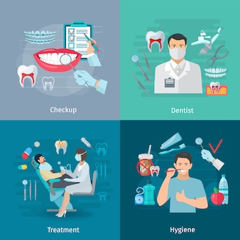 Flache farbzahnsorgfaltkonzept-quadratzusammensetzung des medizinischen kontrollzahnarzes bearbeitet behandlung und hygiene lokalisierte vektorillustration