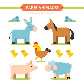 Flache farm animal collection