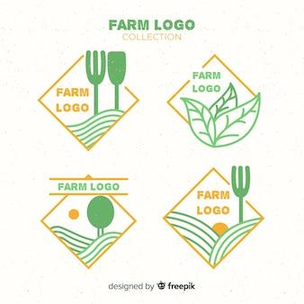 Flache farm-logo-auflistung