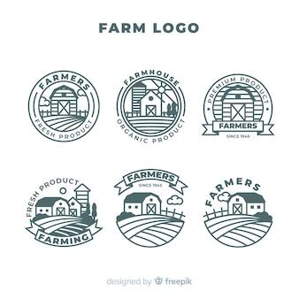 Flache farm-logo-sammlung