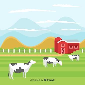 Flache farmlandschaft