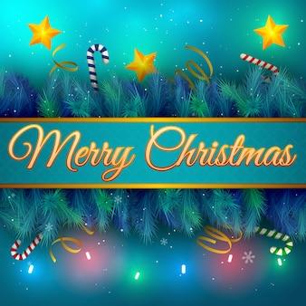 Flache feiertagskarte mit weihnachtsbaumzweigsternen und zuckerstangenvektorillustration