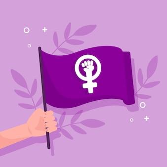 Flache feministische flaggenillustration