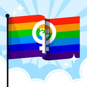 Flache feministische lgbt flaggenillustration