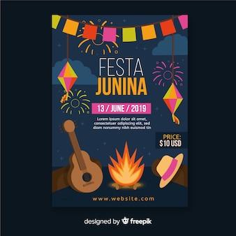 Flache festa junina flyer vorlage