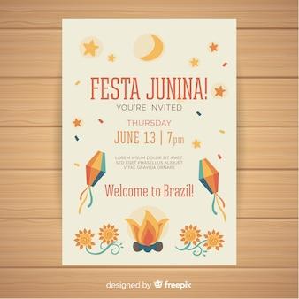 Flache festa junina plakatschablone