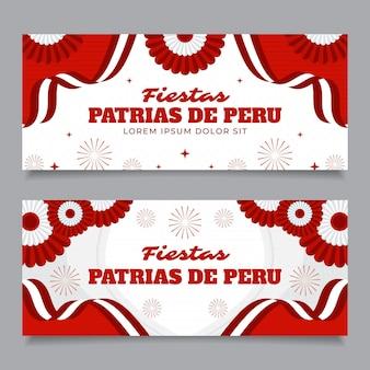 Flache fiestas patrias de peru banner gesetzt