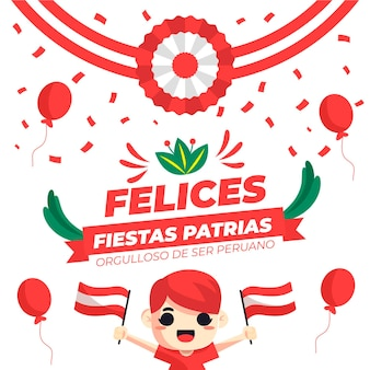 Flache fiestas patrias de peru illustration