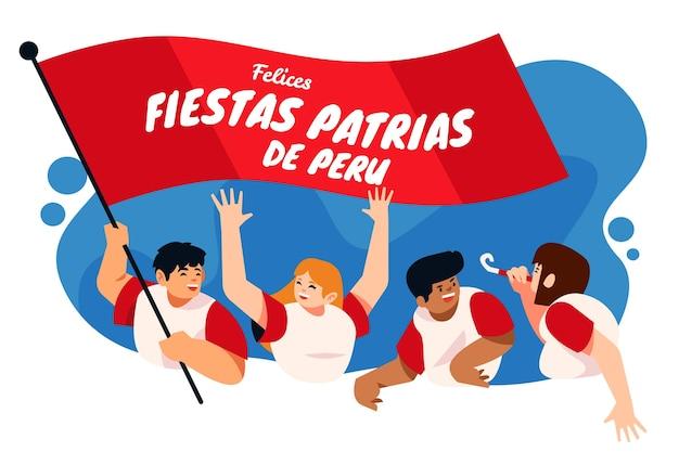 Flache fiestas patrias de peru illustration