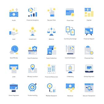 Flache finanzikonen stellten für ihre website und beweglichen ikonen ein. kreativ gestaltete vektoren sind in bearbeitbarer qualität. in verknüpften projekten verwenden.