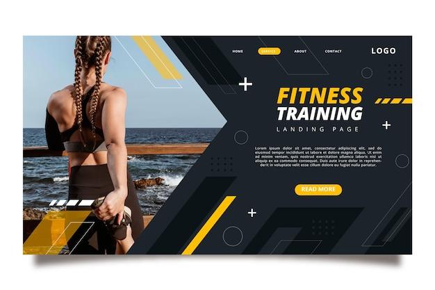 Flache fitness-landingpage-vorlage
