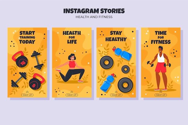 Flache fitness-story-sammlung
