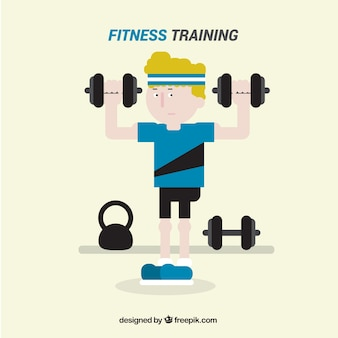 Flache fitness-training hintergrund mit mann