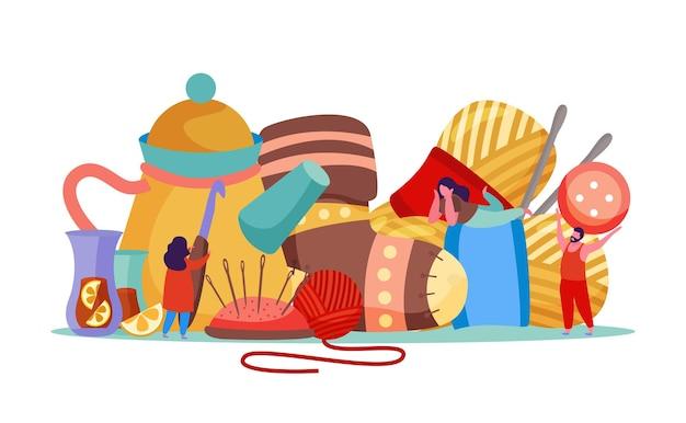 Flache flache komposition mit bildern von strickwaren mit nadeln und knöpfen, die von kleinen menschlichen zeichenillustration gehalten werden