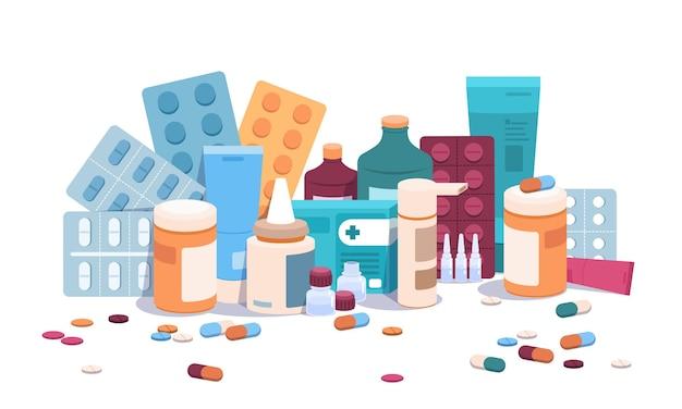 Flache flaschen und pillen. medizinpillen, kapseln und blister, medizinische nahrungsergänzungsmittel und drogensuchtkonzept. vektorkarikaturillustration pharmazeutische flache medikationsgegenstände