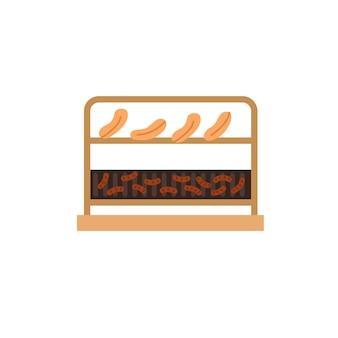 Flache fleischstücke der vektorkarikatur, würstchen auf bbq-grillrost einzeln auf leerem hintergrund - gesundes essen und lebensmittelkochkonzept, website-banner-anzeigendesign