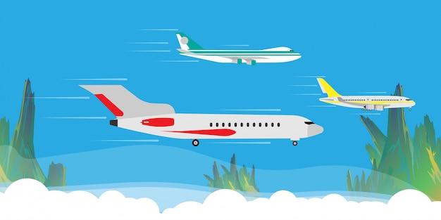 Flache fliege in der wolkenhimmel-illustrationsfahne. travel tourismus jet richtung ferienwohnung. cartoon nutzfahrzeug