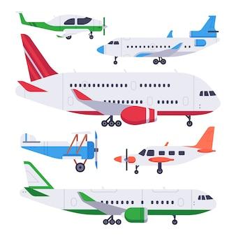 Flache flugzeuge. luftfahrtflossflugzeug, privates flugzeug und düsenflugzeug lokalisierten illustrationssatz