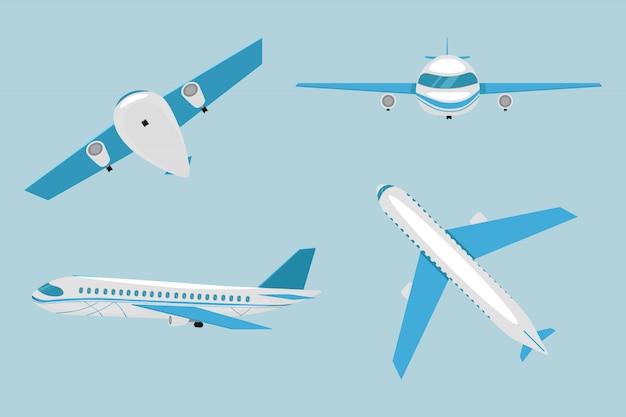 Flache flugzeugsammlung. blaues flugzeug. flugzeug auf blauem hintergrund. verkehrsflugzeug in draufsicht, seitenansicht, vorderansicht.