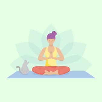 Flache frau, die einfaches yoga übt.