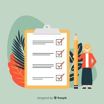 Flache frau, die riesigen checklistenhintergrund überprüft