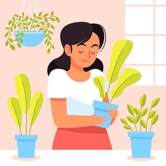 Flache frau, die sich um pflanzen kümmert