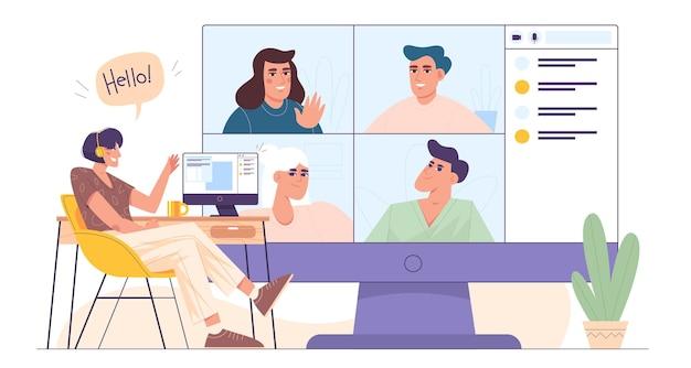 Flache frau im stuhl im home office mit computer für kollektives virtuelles teambuilding oder gruppenvideokonferenz mit kunden, kollegen. mädchen mit kopfhörern am desktop im online-gespräch mit freunden.