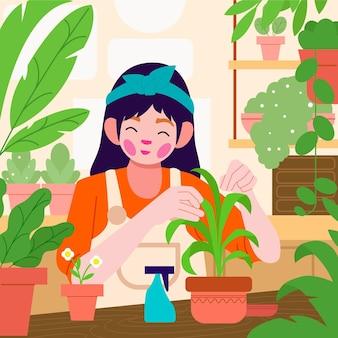 Flache frau kümmert sich um pflanzen