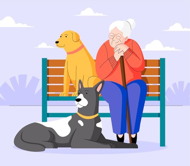 Flache frau mit niedlichen hunden im park