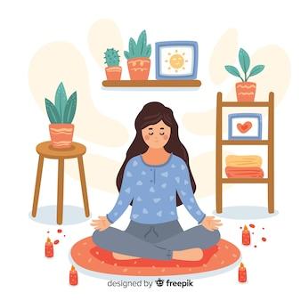 Flache frau, welche die meditation genießt