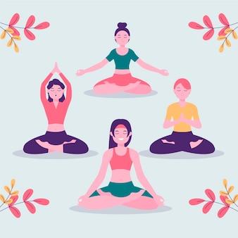 Flache frauen, die zusammen meditieren