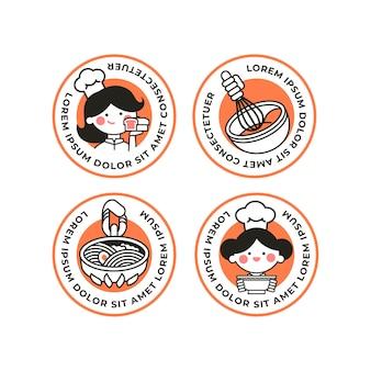 Flache frauenkoch-logo-sammlung