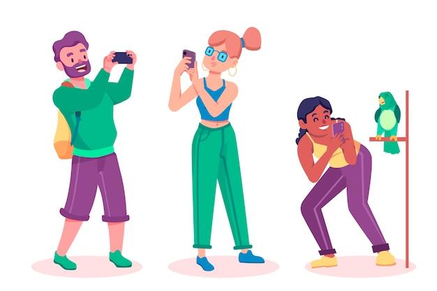 Flache freunde, die fotos mit dem smartphone machen