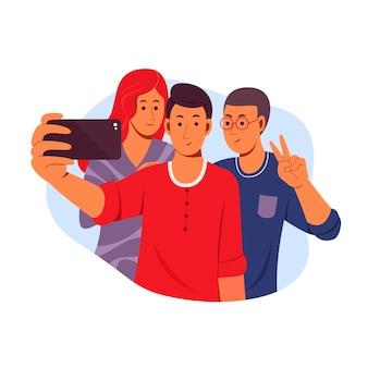 Flache freunde, die zusammen selfie machen