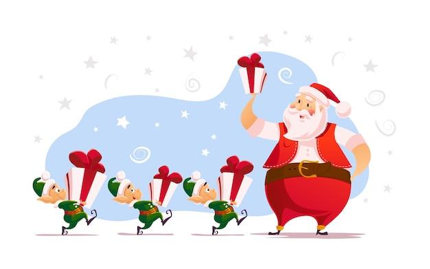 Flache frohe weihnachten und frohes neues jahr illustration mit weihnachtsmann