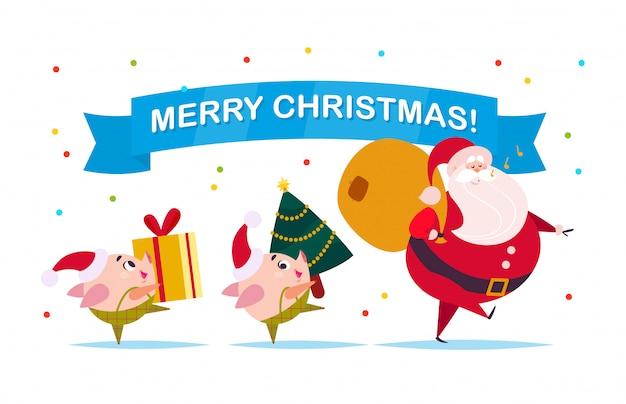 Flache frohe weihnachtsillustration des weihnachtsmannes mit geschenktüte, niedlicher schweineelf